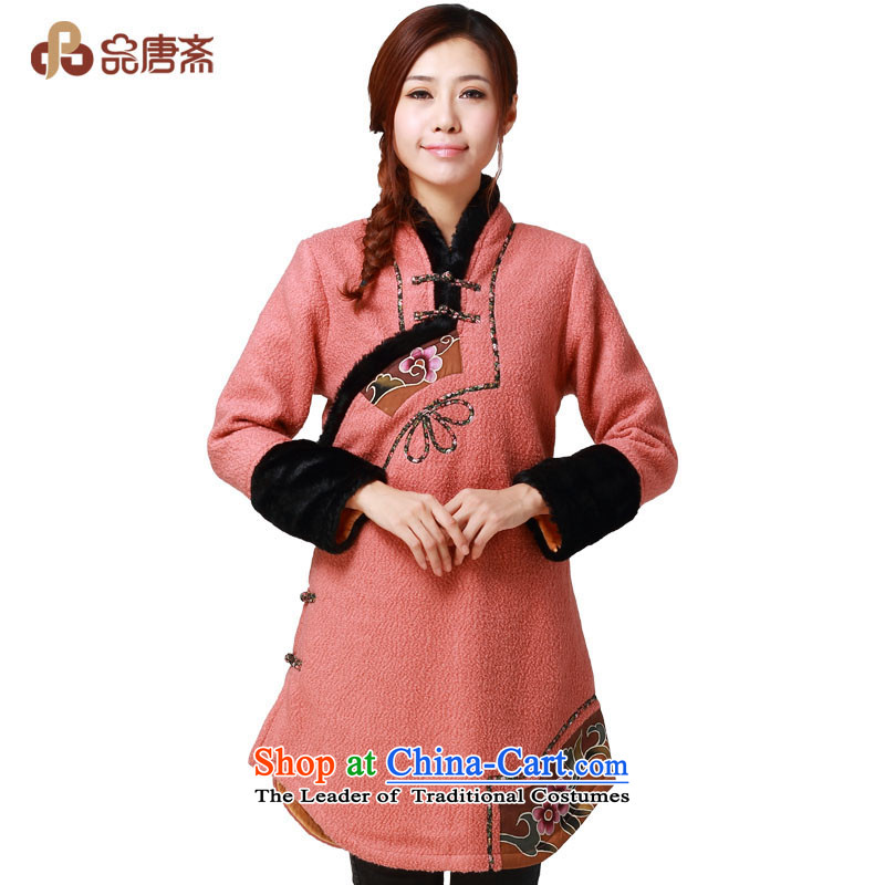 No. of Ramadan 2014 Winter Tang new national wind long long-sleeved retro improved cheongsam pink?XL