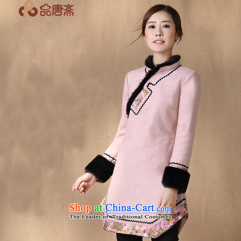 No. of Ramadan 2014 Winter Tang new national wind long-sleeved shirt qipao improved stylish pale pink?XL