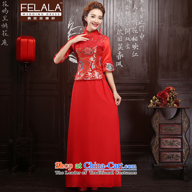 Ferrara red 2015 new bride bows qipao 7 cuff autumn and winter, water-soluble lace qipao�S