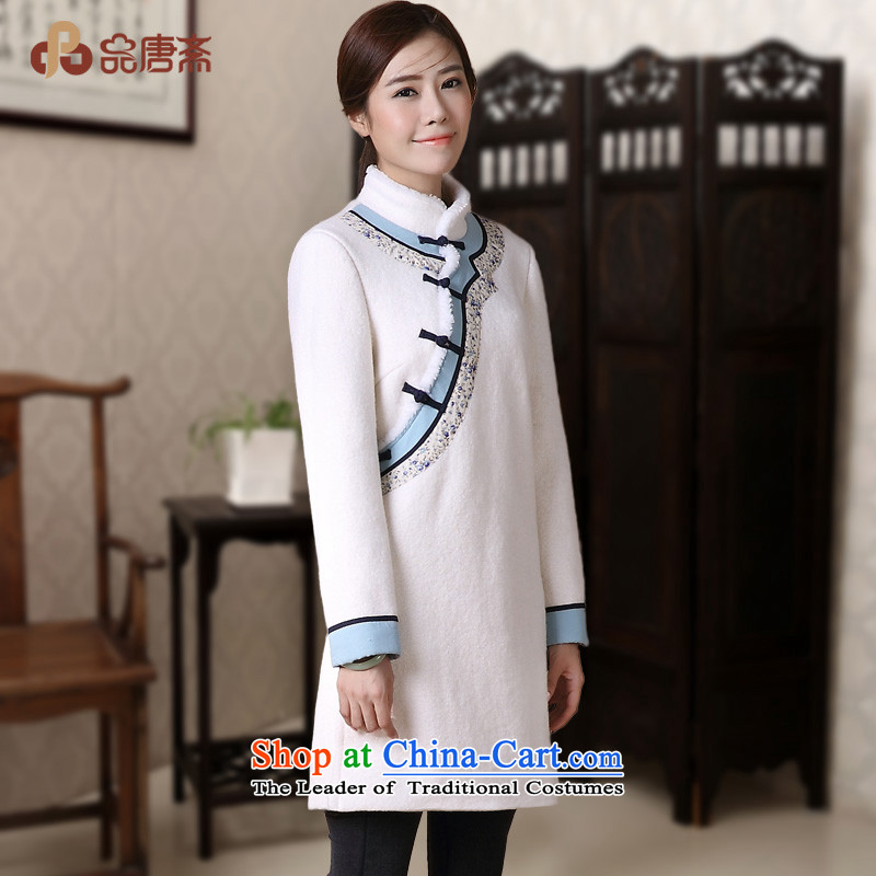 No. of Ramadan 2014 Winter Tang new national wind long-sleeved T-shirt jacket Stylish retro qipao White�M