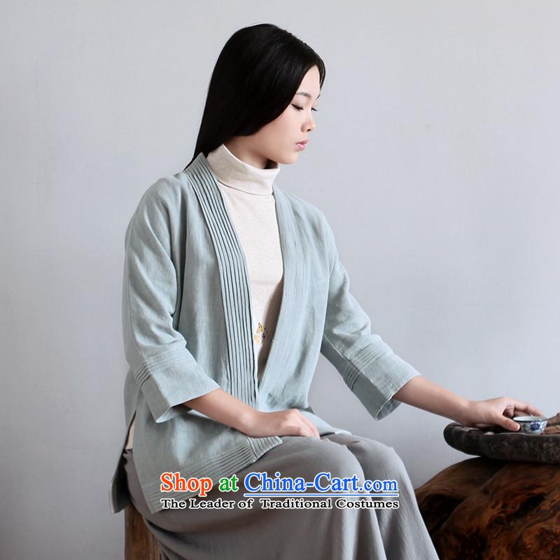 -nimble- Improved Han-style Han-cotton linen Chinese Tea-han-arts retro Han-tea was serving a light blueL