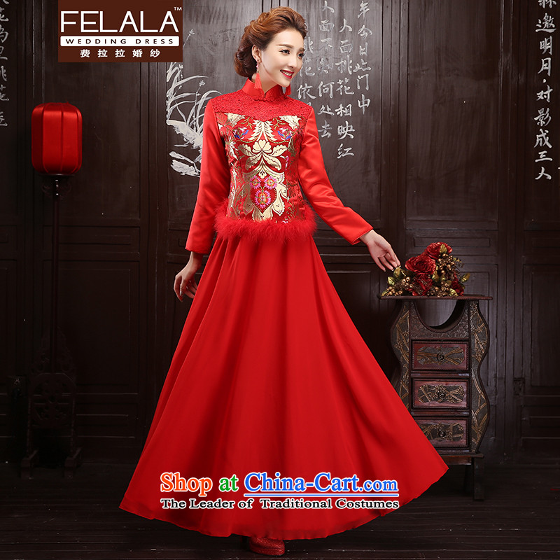 Ferrara�15 winter new bride cheongsam long-sleeved winter clothing long wedding dress improved retro qipao燣燬uzhou Shipment
