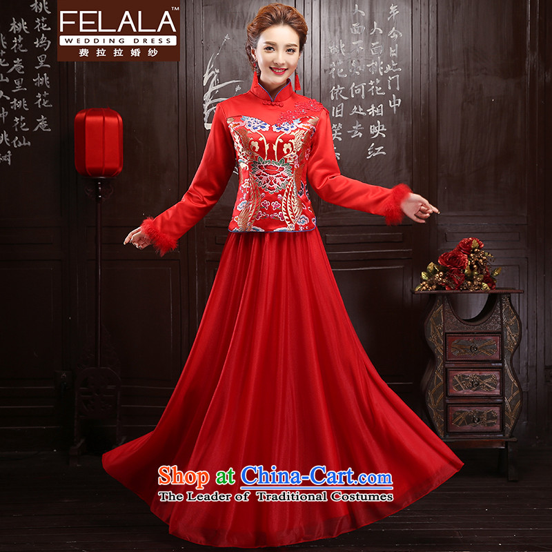 Ferrara?2015 New Red Foutune of long thick Maomao Folder panel qipao bows services?L?Suzhou Shipment