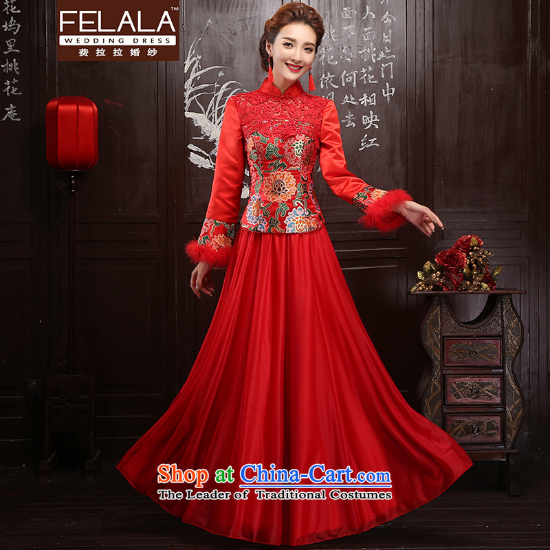 Ferrara red 2015 new winter clothing bride qipao gown winter bows long-sleeved qipao gown winter燬_