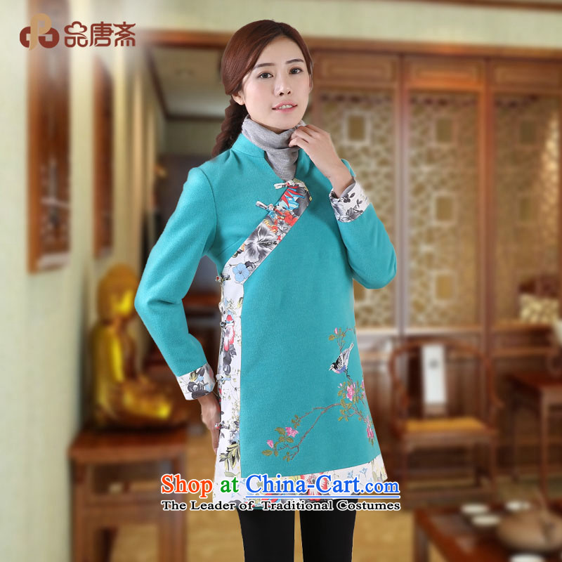 No. of Ramadan 2014 Winter Tang new national wind long-sleeved shirt qipao loose retro lake green?XL