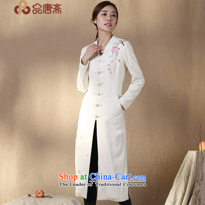 No. of Ramadan 2014 Autumn Load Tang new ethnic cotton linen Sau San Graphics Improvement qipao shirt M Thin White燲L