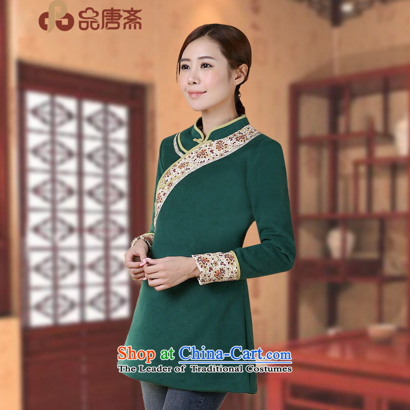 No. of Ramadan 2014 autumn and winter Tang load new national wind long-sleeved shirt qipao Sau San improved dark green燣