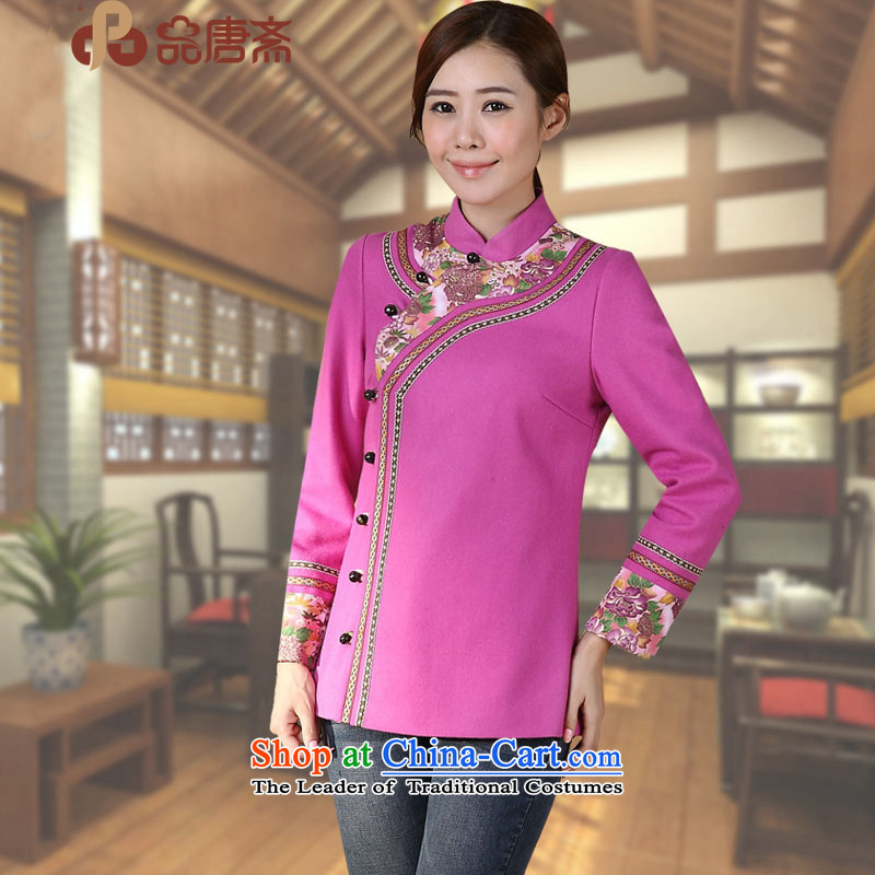 No. of Ramadan 2014 autumn and winter Tang load new national wind long-sleeved shirt qipao loose improved purple L