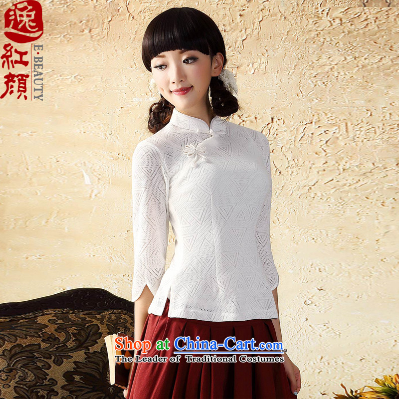 A Pinwheel Without Wind Yat Gardenia knitting sweater in cuff qipao improved China wind Tang Dynasty Chinese women of ethnic white燬