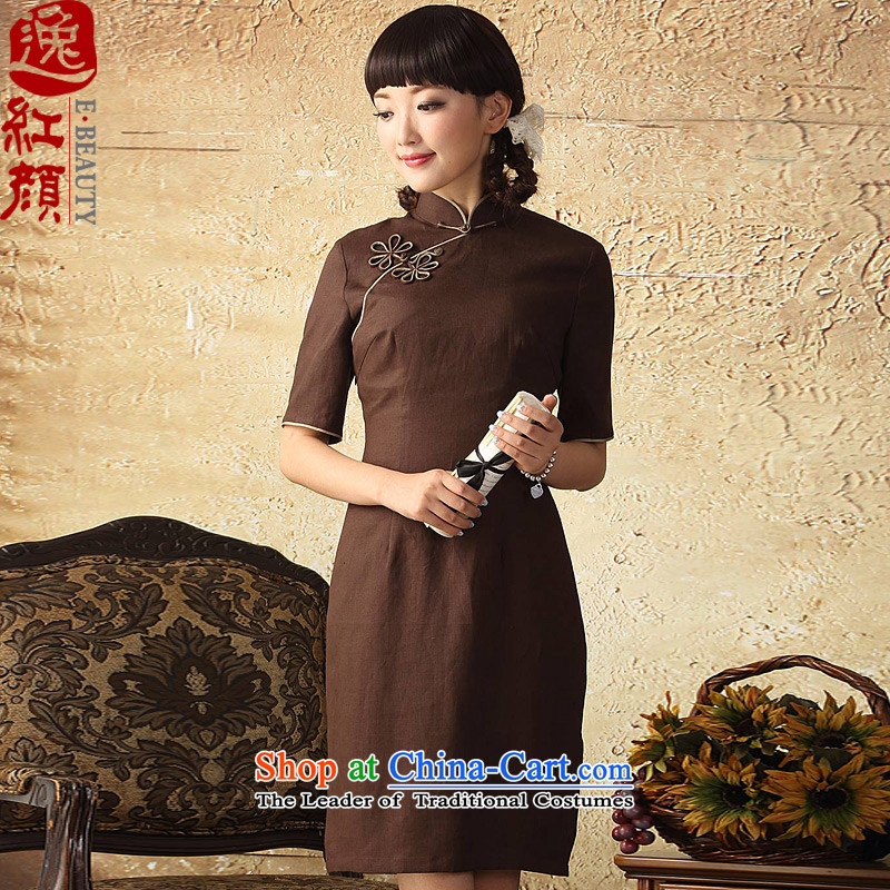 A Pinwheel Without Wind, linen flowers Yat cheongsam dress in spring and autumn 2015 improved stylish Sau San cotton linen cheongsam dress brown聽XL