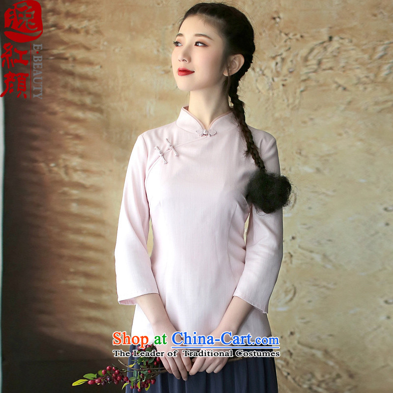 A Pinwheel Without Wind of youth culture and arts Yat cotton linen clothes improvement in the autumn of cuff cheongsam with China wind women of ethnic pink?2XL
