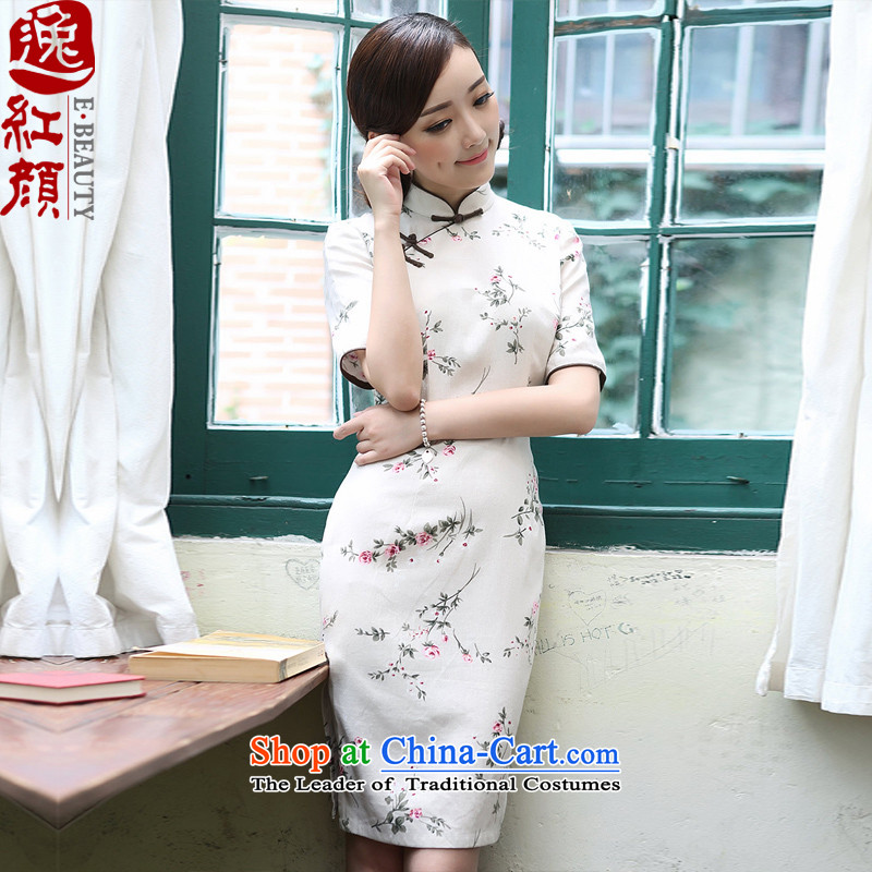 A Pinwheel Without Wind Yat Day Lilies linen cheongsam dress in spring and autumn 2015 improved stylish Sau San cotton linen cheongsam dress light gray燤
