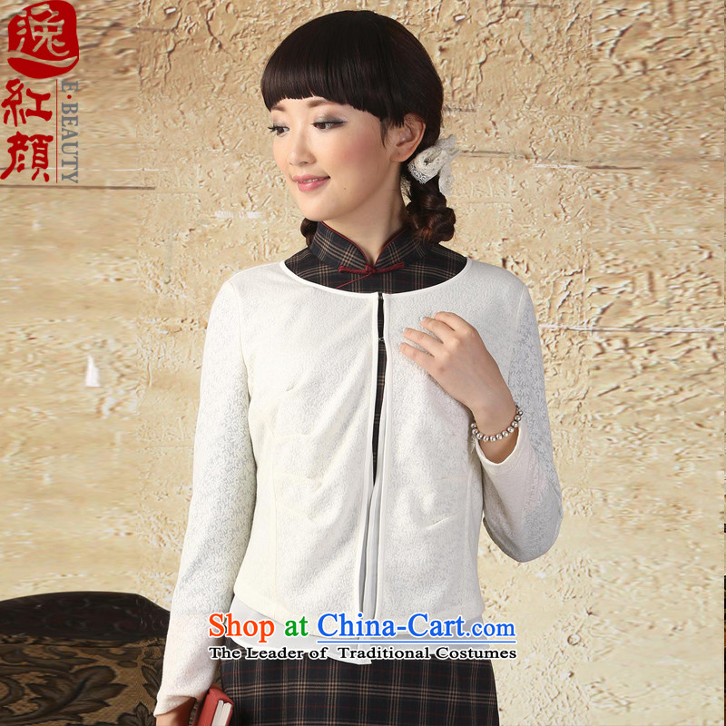 A Pinwheel Without Wind rain the Zaytun Unit Yat chiffon stitching long-sleeved knitting cardigan spring and autumn 2015 New Chinese Folk Wind Sau San White燤