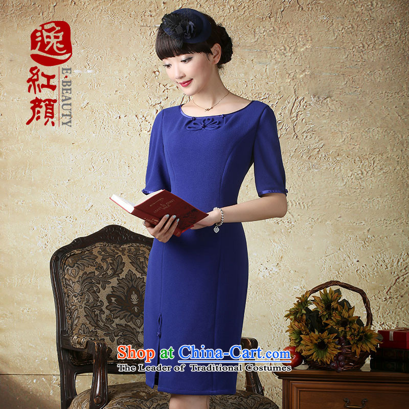 A Pinwheel Without Wind is new in the escape of autumn in elastic cuff_ round-neck collar dresses Chinese Ethnic Wind stylish short skirts Tibetan blue S