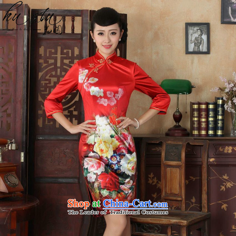Floral qipao autumn replacing Tang new improvement of Chinese women's Mock-neck gold velour poster cheongsam dress will Sau San figure M