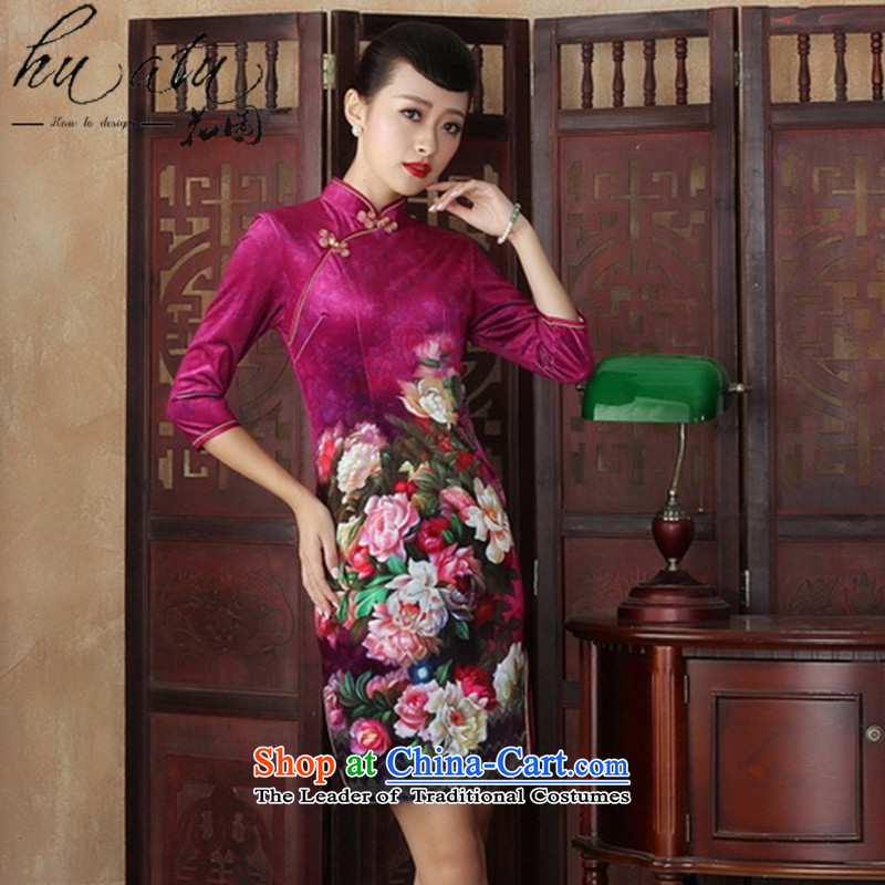 Floral Chinese qipao gown improved retro scouring pads in the reusable cuffs, Kim long autumn of Qipao Sau San stylish dresses figure S