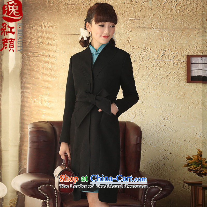 Mrs Carrie Yau Yat lady won windbreaker. Long autumn and winter jackets Chinese Ethnic Wind female black windbreaker燤