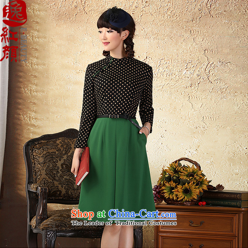 A Pinwheel Without Wind cycle if the escape dot stitching long-sleeved dresses spring and summer load new China wind national women's Mock-neck :?L