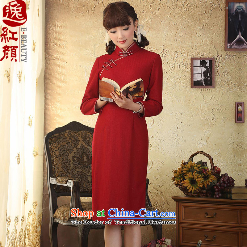 A Pinwheel Without Wind wind, wool Yat? cheongsam dress 2015 winter clothing stylish cheongsam dress improved RED?M