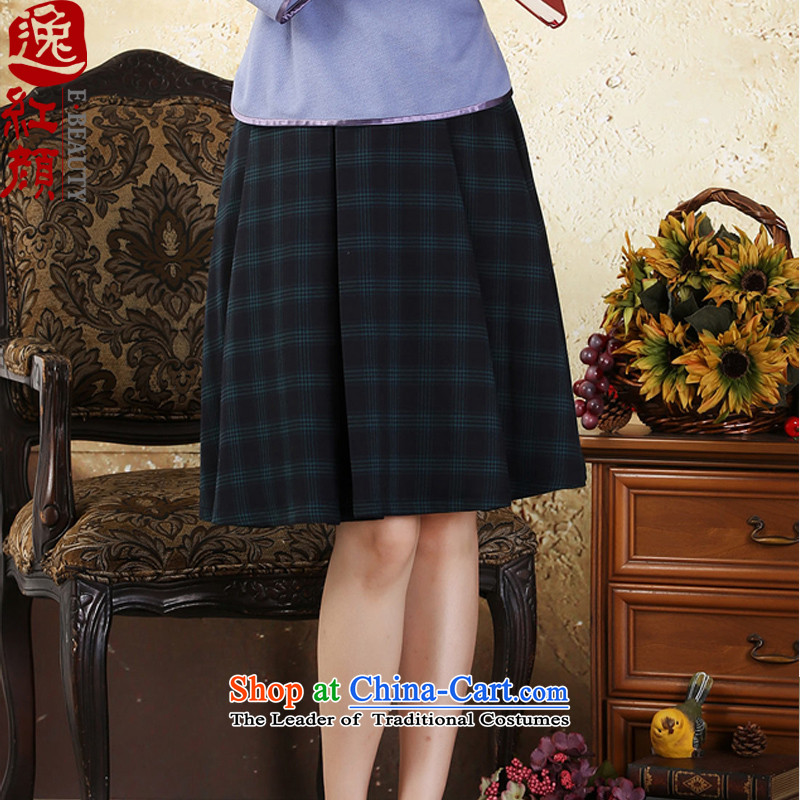 A Pinwheel Without Wind Guffy retro Yat elegant plaid body skirt the fall of Chinese ethnic body female skirt Doi green L