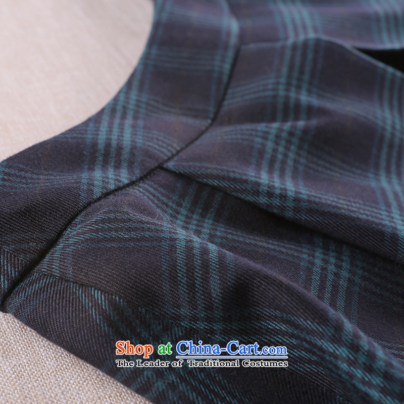 A Pinwheel Without Wind Guffy retro Yat elegant plaid body skirt the fall of Chinese ethnic body female skirt green , L, Yat Lady Diana shopping on the Internet has been pressed.