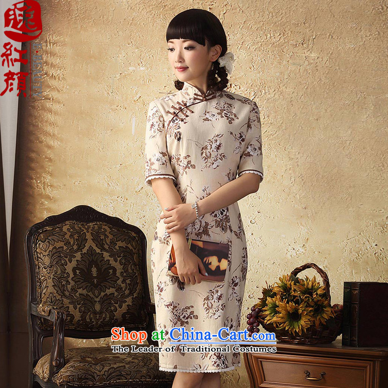 A Pinwheel Without Wind ? Yat cotton linen dress in spring and autumn 2015 Stamp qipao improved stylish Sau San cotton linen dresses suits Kani Wong燤