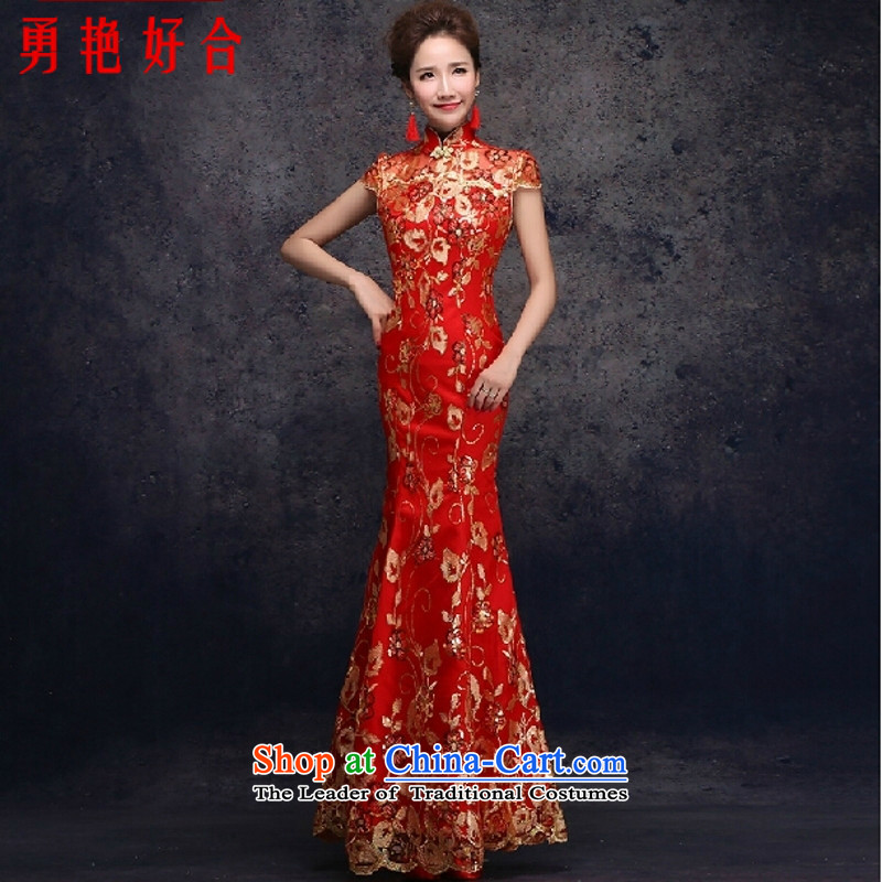 Yong-yeon and 2015 new bride dress red packets transmitted to retro marriage shoulder length_ Improved cheongsam dress red燲XL