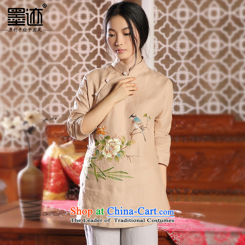 The tree of ink on bird autumn and winter new products hand-painted cotton linen Tang Dynasty Chinese Han-girl shirt ethnic retro jacket燤
