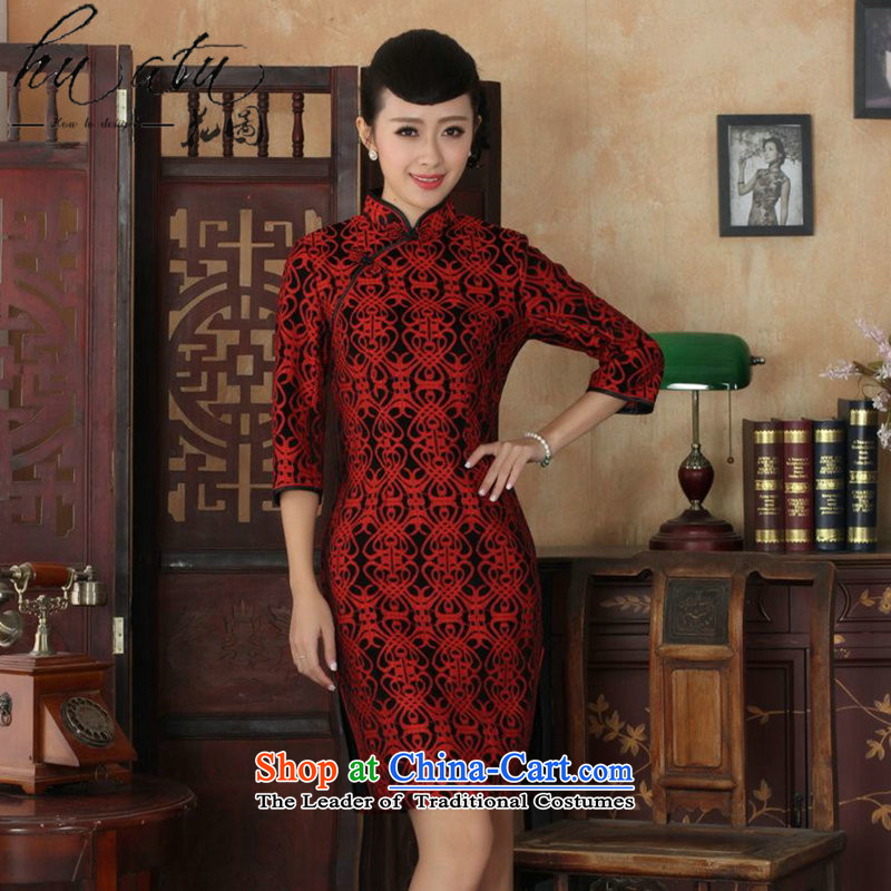 Tang Dynasty floral cheongsam with new autumn collar women improved lace velvet cheongsam dress Sau San 7 cuff will 5 red XL