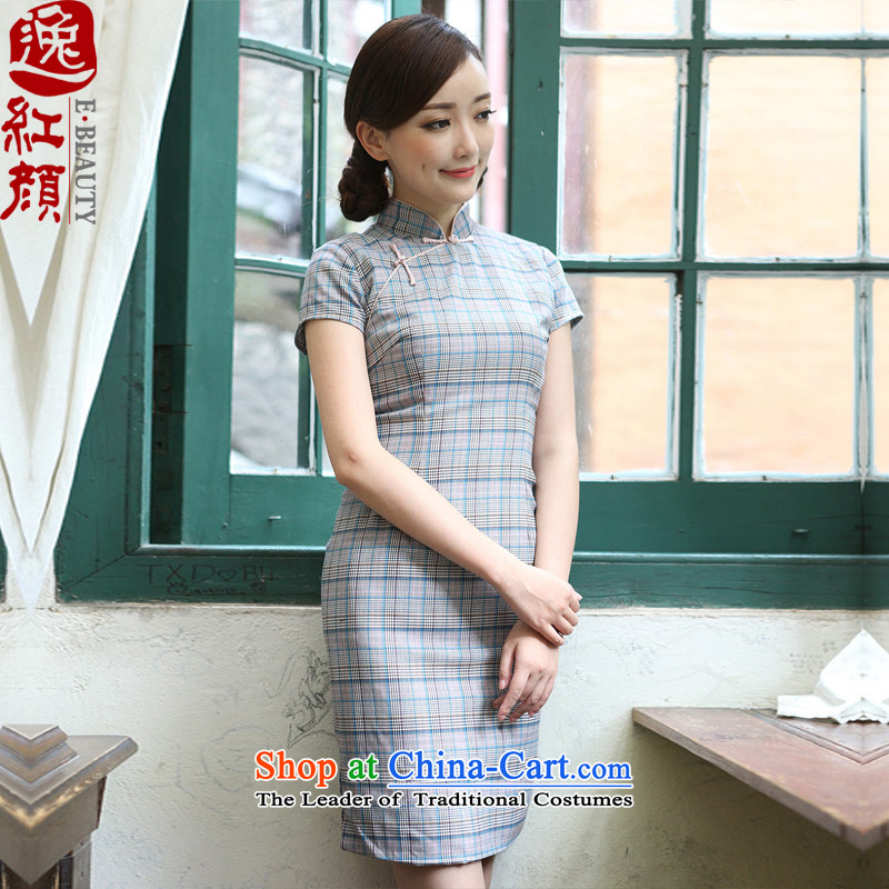 A Pinwheel Without Wind bereaved family love grid Yat cheongsam dress summer improved stylish Sau San new cheongsam dress suit燤