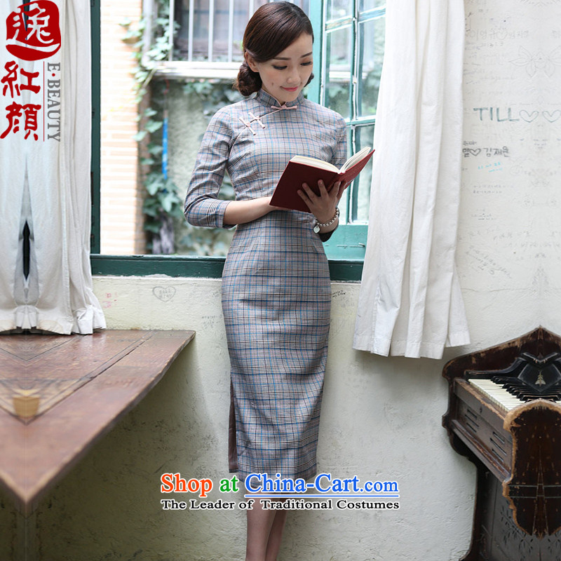 A Pinwheel Without Wind bereaved family love improvements Yat cheongsam dress in spring and autumn 2015 new products of the Republic of Korea retro long skirt suits qipao聽L
