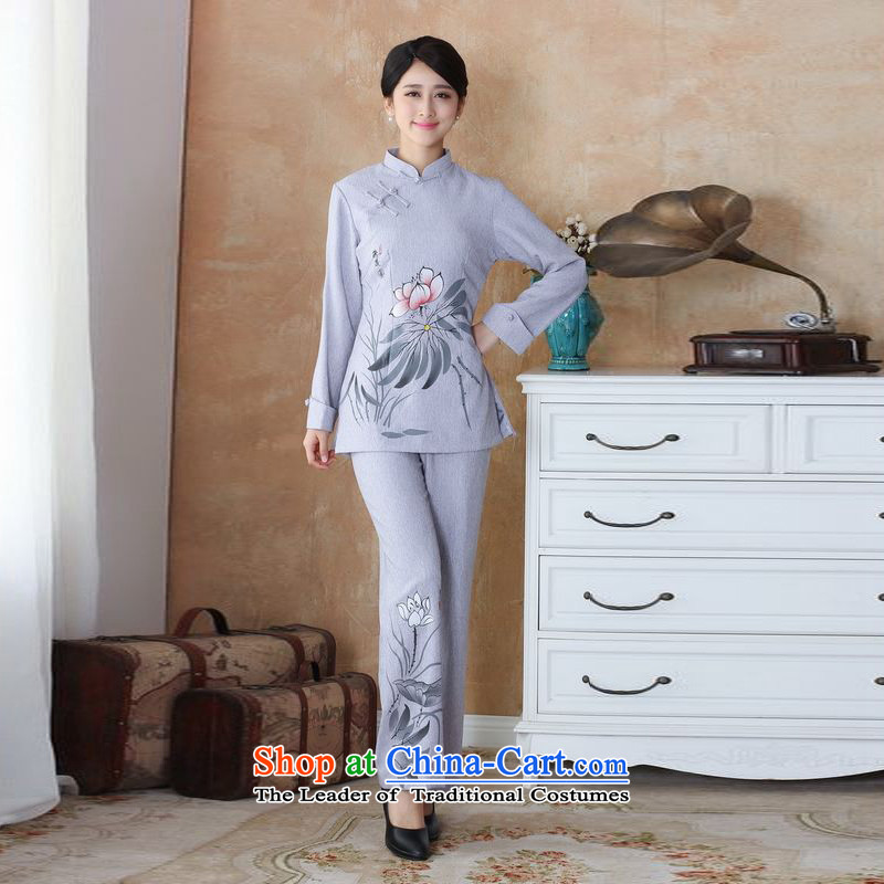 158 Jing Ms. older Tang dynasty cotton linen load spring and autumn kit collar hand-painted Tang blouses pants Kit?- 3 Silver Gray?4XL