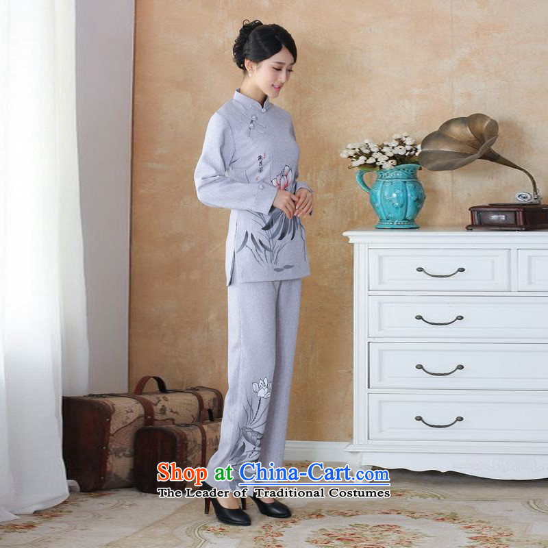 158 Jing Ms. older Tang dynasty cotton linen load spring and autumn kit collar hand-painted Tang blouses pants Kit- 3 silver gray4XL, 158 jing shopping on the Internet has been pressed.