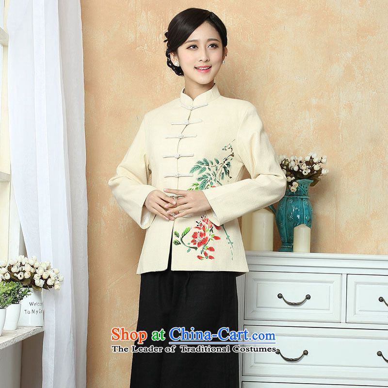 158 Jing female Tang dynasty autumn and winter coats blouses cotton linen collar Tang blouses national costume show Services�- 1 beige�L
