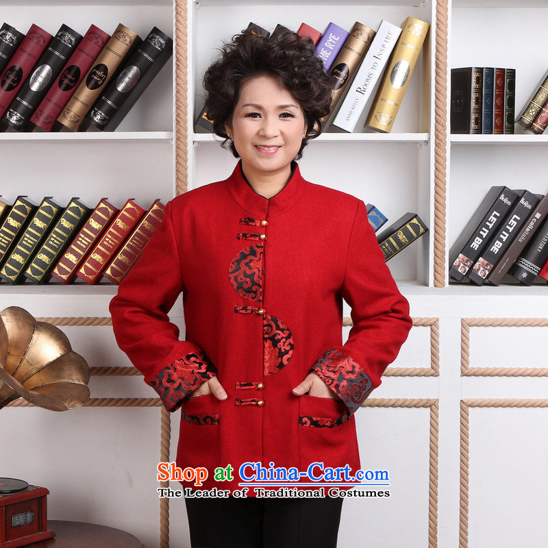 158 Jing in older women Tang dynasty winter coats blouses Mock-neck Tang dynasty women wool? Tang Dynasty�- 1 red jacket�L