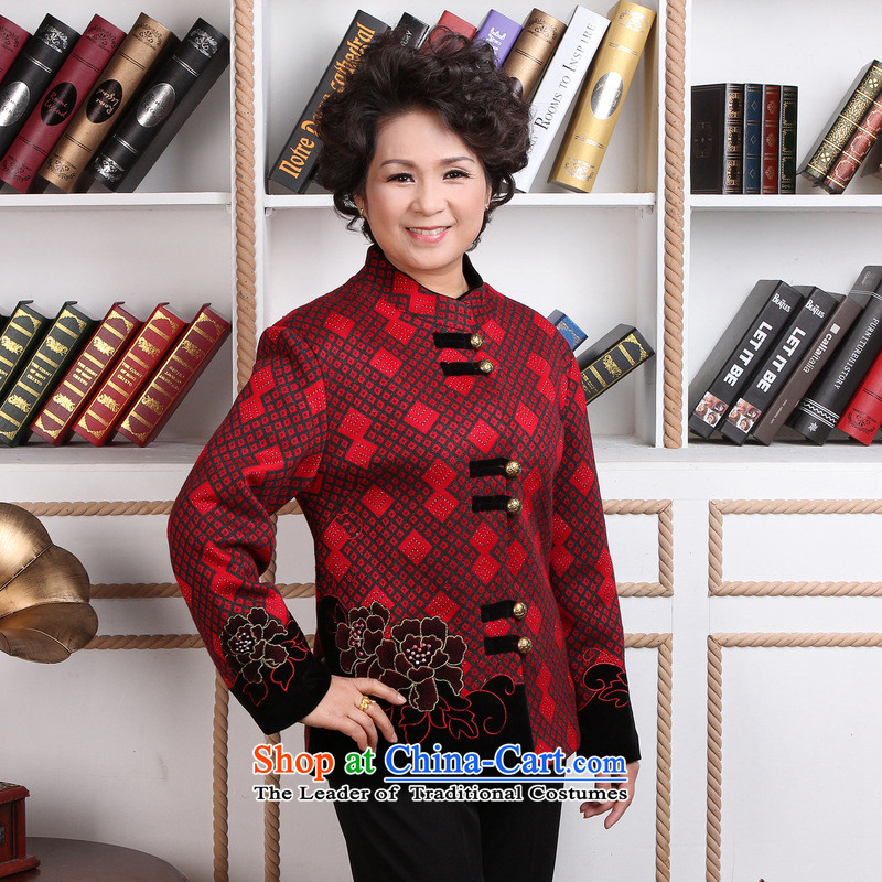 158 Jing in older women Tang dynasty winter coats blouses Mock-neck Tang dynasty women wool? Tang Dynasty�- 1 black jacket red grille flower燲L