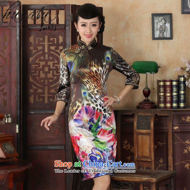 Take the new figure autumn qipao retro Kim elegant qipao scouring pads video thin stylish lady in the Sau San cheongsam dress suit if the cuff figure?3XL