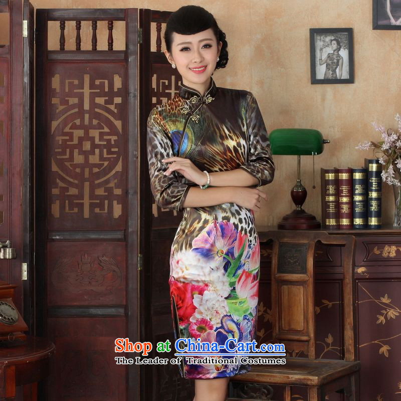 158 Jing Chinese improved cheongsam dress long skirt Superior elasticity Kim scouring pads peacock qipao 7 Cuff Color Picture XL