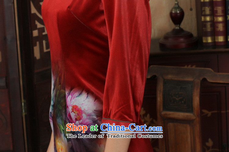 158 Jing Chinese improved cheongsam dress long skirt superior Stretch Wool cheongsam dress Kim