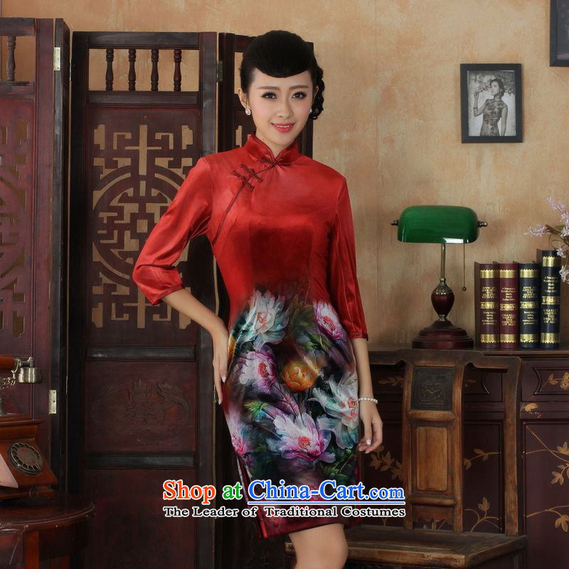 158 Jing Chinese improved cheongsam dress long skirt superior Stretch Wool cheongsam dress Kim Sau San 7 Cuff Color Picture聽M