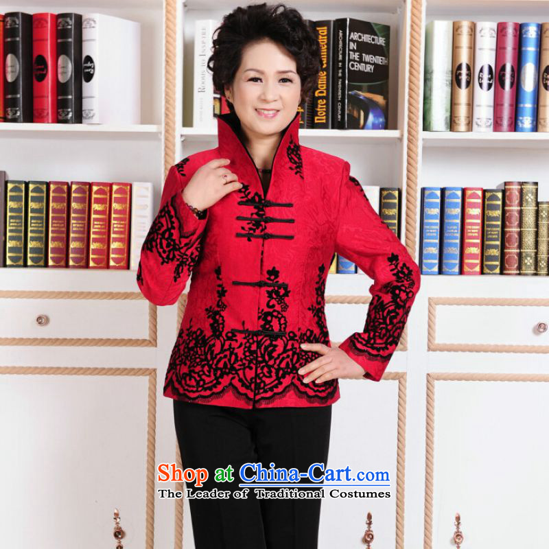 To Jing Ge older female Tang dynasty autumn and winter coats blouses Mock-neck Tang dynasty women's national Dress Shirt robe?- 1 Red?2XL