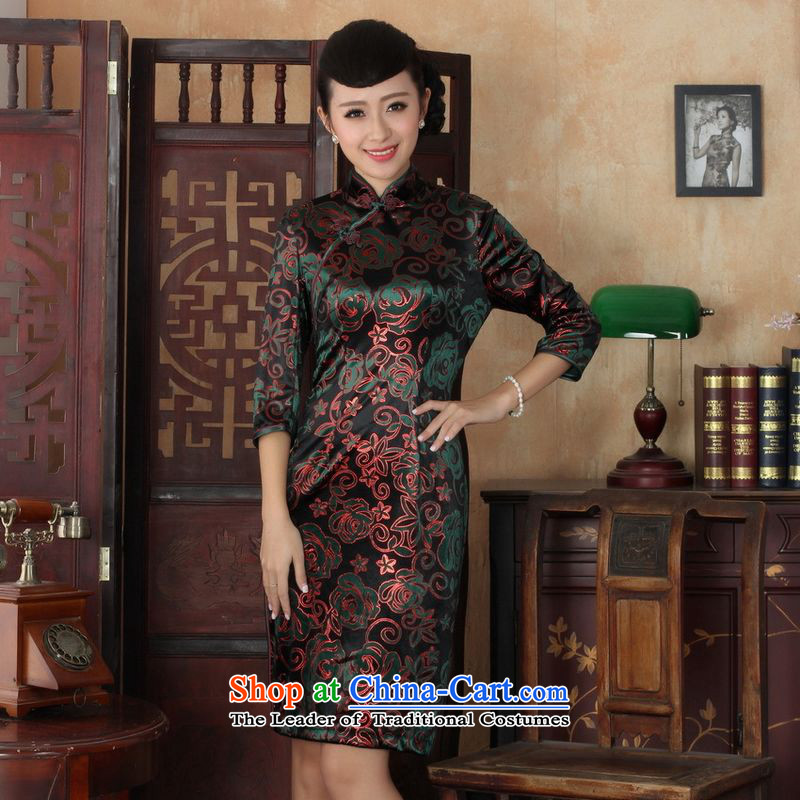 158 Jing Chinese improved cheongsam dress long skirt superior Stretch Wool cheongsam dress Kim Sau San 7 Cuff Color Picture?L