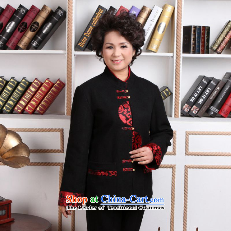 To Jing Ge older female Tang dynasty winter coats blouses Mock-neck Tang dynasty women wool coat Tang?- 2??3XL black