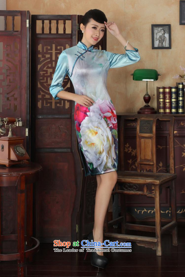 158 Jing Chinese improved cheongsam dress long skirt superior Stretch Wool cheongsam dress Kim
