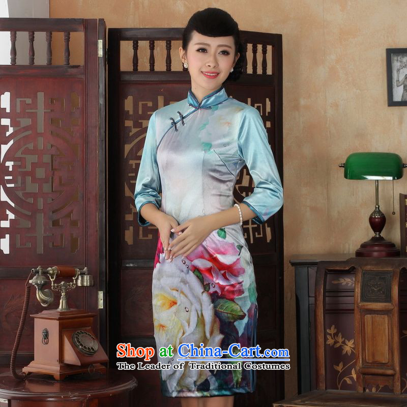 158 Jing Chinese improved cheongsam dress long skirt superior Stretch Wool cheongsam dress Kim Sau San 7 Cuff Color Picture�L