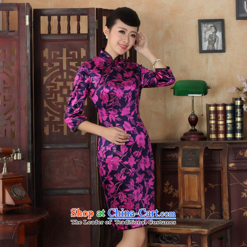 158 Jing Chinese improved cheongsam dress long skirt superior Stretch Wool cheongsam dress Kim Sau San 7 Cuff Color Picture燬