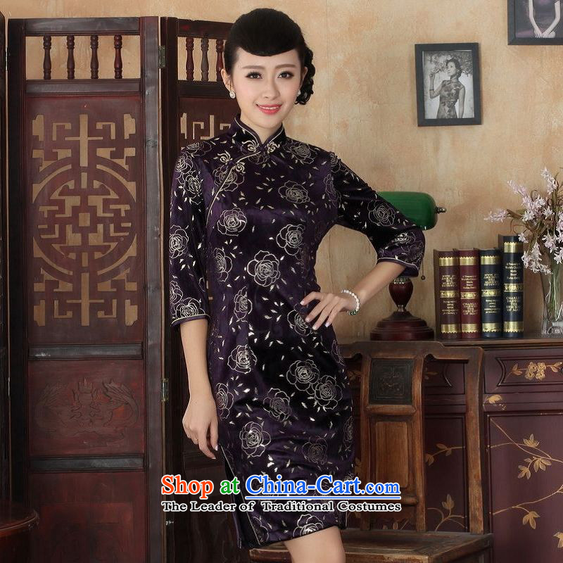 158 Jing Chinese improved cheongsam dress long skirt superior Stretch Wool cheongsam dress Kim Sau San 7 Cuff Color Picture?2XL