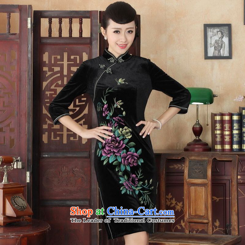158 Jing Chinese improved cheongsam dress long skirt superior Stretch Wool cheongsam dress Kim Sau San 7 Cuff�-A black燬