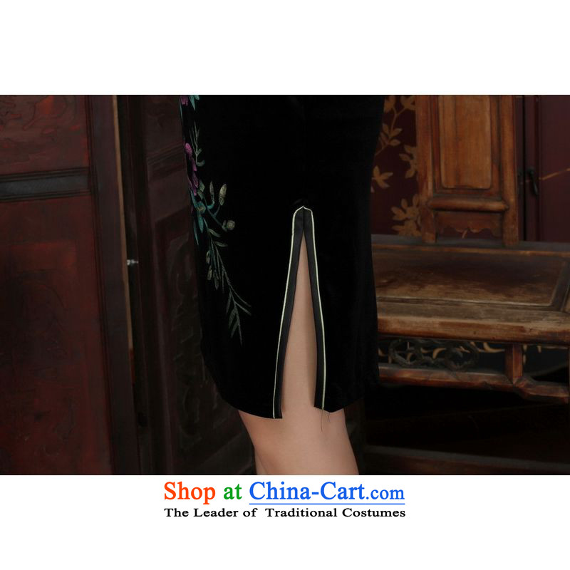 158 Jing Chinese improved cheongsam dress long skirt superior Stretch Wool cheongsam dress Kim Sau San 7聽-A Black聽, 158 sleeved jing shopping on the Internet has been pressed.