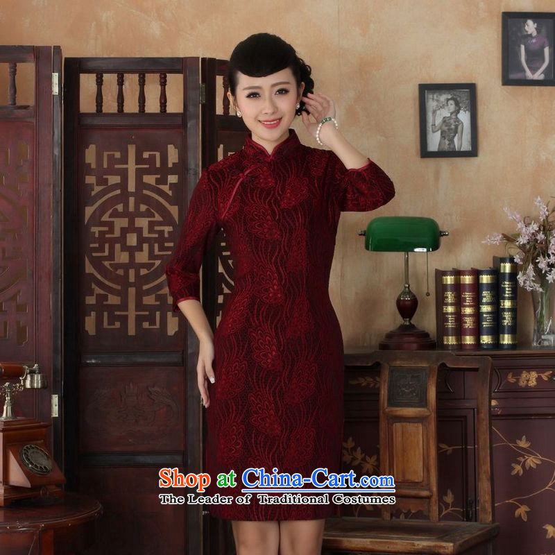 158 Jing Chinese improved cheongsam dress long skirt Superior elasticity lace cheongsam dress Kim scouring pads Sau San 7 Cuff?TD0024 map color?L